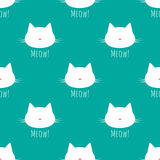 Silhouette of a cat`s head with a mustache. Nose in the shape of a heart.. Text Meow! Seamless pattern. Blue, pink, white Stock Photography