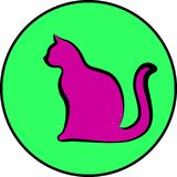 Silhouette of cat. Vector illustration Stock Photography