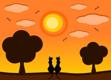 Silhouette cat in the sunset romantic cartoon illustration Stock Photo