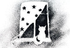 Silhouette of a cat on a window sill of black glitter sparkle on white background Royalty Free Stock Images
