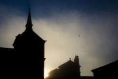 Silhouette of the Catholic temple Royalty Free Stock Photos