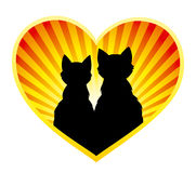 Silhouette of cats in love. Silhouette of the couple of cats on sunbeams background, enclosed into heart shape. Vector EPS8 Royalty Free Stock Images