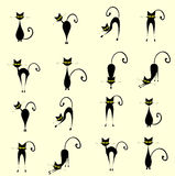 Silhouette cats Stock Photography