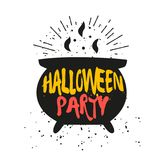Silhouette of cauldron with lettering text Halloween Party. Vector color sticker Stock Image