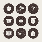 Silhouette CCTV Icons. Set of silhouette icons with video surveillance cameras. Secutiry cameras illustration. Monitored area and protection of property concept Stock Photos