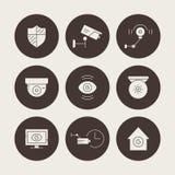 Silhouette CCTV Icons Stock Photos