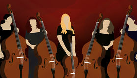 Silhouette of cello players (musicians) on red background. Illustration of five female musicians playing cellos on red background Royalty Free Stock Image