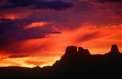 Silhouette of Chaco Canyon, NM Royalty Free Stock Images