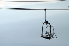 Silhouette of chairlifts in Semnoz, France Stock Photography