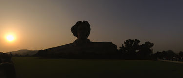 Silhouette of Chairman Mao statue in Changsha, Hunan Province, C. Hina stock images