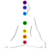 Silhouette with chakra system Royalty Free Stock Images