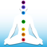 Silhouette with chakra system Royalty Free Stock Image