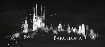 Silhouette chalk Barcelona. Silhouette Barcelona city painted with splashes of chalk drops streaks landmarks drawing with chalk on blackboard Stock Image