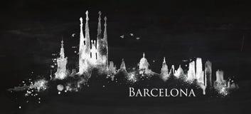 Silhouette chalk Barcelona Stock Image