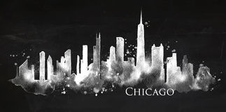 Silhouette chalk Chicago Stock Image