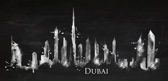 Silhouette chalk Dubai Royalty Free Stock Image