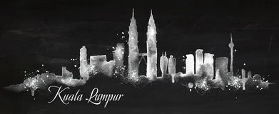 Silhouette chalk Kuala Lumpur Stock Image