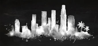 Silhouette chalk Los Angeles. Silhouette of Los Angeles city painted with splashes of chalk drops streaks landmarks drawing with chalk on blackboard Stock Photos