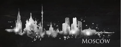 Silhouette chalk Moscow Royalty Free Stock Photos