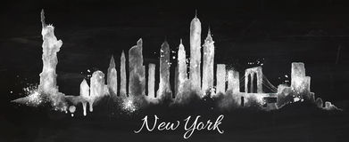Silhouette chalk New york Royalty Free Stock Photo
