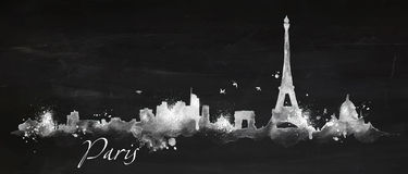 Silhouette chalk Paris Stock Photos