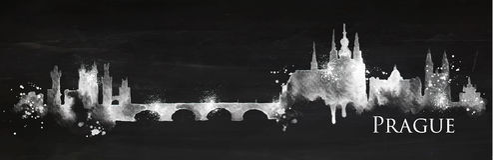 Silhouette chalk Prague Royalty Free Stock Image
