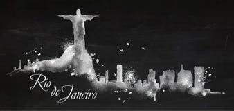 Silhouette chalk Rio de Janeiro Stock Images