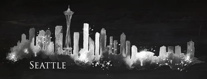 Silhouette chalk Seattle Royalty Free Stock Photos