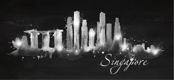 Silhouette chalk Singapore. Silhouette Singapore city painted with splashes of chalk drops streaks landmarks drawing with chalk on blackboard Stock Photos
