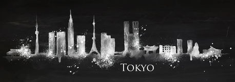 Silhouette chalk Tokyo Stock Image