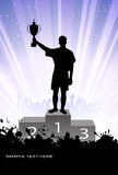Silhouette of the champion on a pedestal Royalty Free Stock Photography