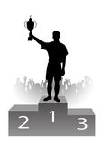 Silhouette of the champion on a pedestal Royalty Free Stock Photo