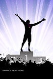 Silhouette of the champion on a pedestal Royalty Free Stock Images