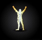 Silhouette of the champion. For sports championships and concerts Royalty Free Stock Photography