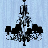 Silhouette of chandelier on scratched wallpaper Royalty Free Stock Image