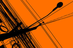 Silhouette of chaos electric cable Royalty Free Stock Image
