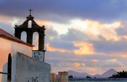 Silhouette of chapel in Tequise, Lanzarote Royalty Free Stock Photography