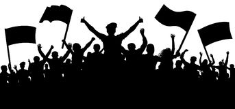 Silhouette cheer crowd people. Audience cheering applause, clapping. Cheerful sports fan. Mob soccer banner. Party music concert. Demonstration and protest and stock illustration