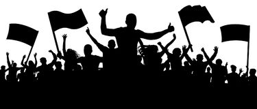 Silhouette cheer crowd people. Audience cheering applause, clapping. vector illustration
