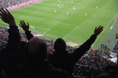 Silhouette of a cheering sports fan Stock Images