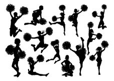 Silhouette Cheerleaders. Detailed silhouette cheerleaders with pompoms Stock Images