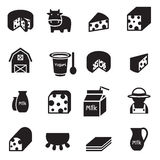 Silhouette Cheese icons set Stock Photography