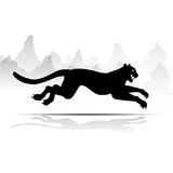 Silhouette Cheetah, Panther, design using black line square, graphic . Royalty Free Stock Image