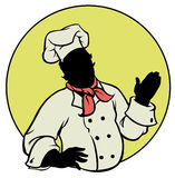 Silhouette Chef - Illustration. Silhouette happy chef presenting something royalty free illustration