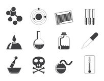 Silhouette Chemistry industry icons Royalty Free Stock Photo