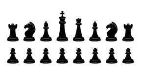Silhouette of chess. Vector monochrome illustrations isolate stock illustration
