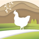 Silhouette of chicken. In the countryside. Illustration made of cardboard or paper.  art. Vector. Cartoon. Flat Royalty Free Stock Photography