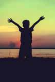 Silhouette of child enjoying the view at riverside. Cross proces Stock Photos