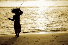 Silhouette of child on sea background Stock Image