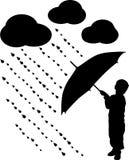 Silhouette child with umbrella, vector. Illustration Stock Image